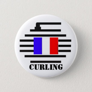 France Curling Pinback Button