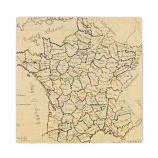France departments maple wood coaster