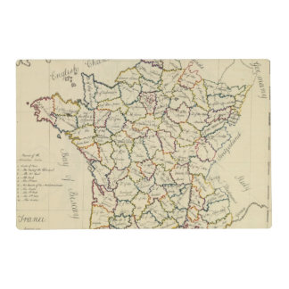 France departments laminated place mat