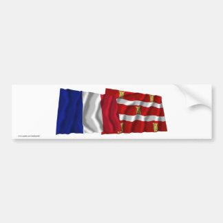 France & Deux-Sèvres waving flags Bumper Stickers