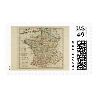 France Divided into Circles and Departments 2 Postage Stamp