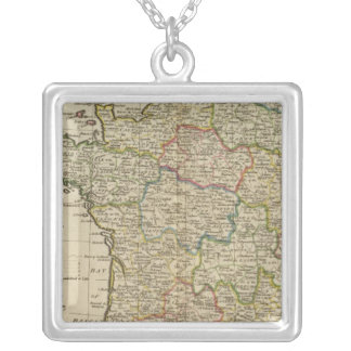 France Divided into Circles and Departments 2 Silver Plated Necklace