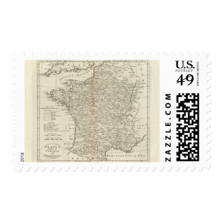 France Divided into Circles and Departments Postage Stamp