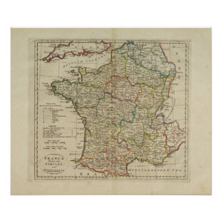 France Divided into Circles and Departments Poster