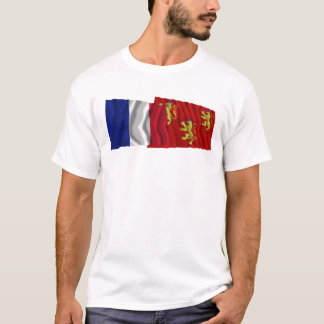 France & Dordogne waving flags T-Shirt