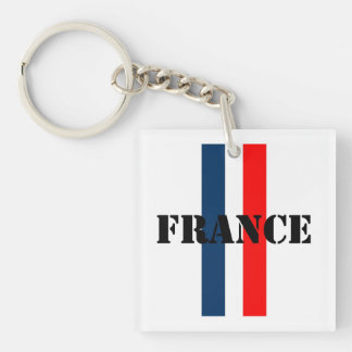 France Double-Sided Square Acrylic Keychain