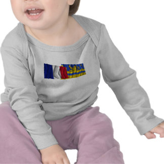 France & Doubs waving flags T-shirts