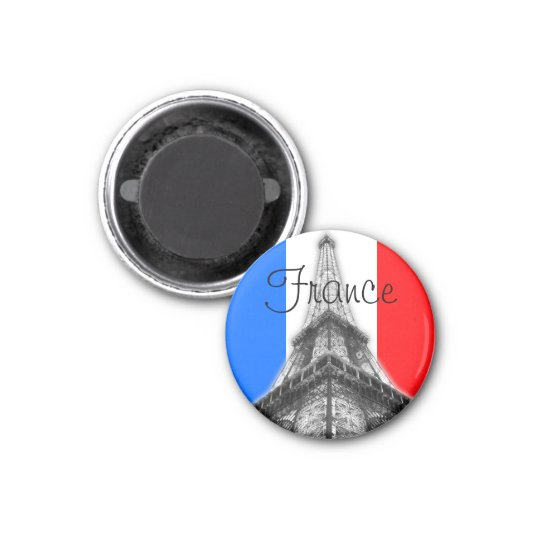 France Eiffel Tower Round Magnet
