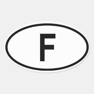 """France """"F"""" Oval Sticker"""