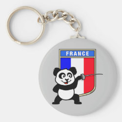 Basic Button Keychain with French Fencing Panda design