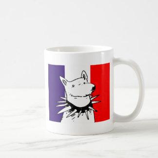 france flag and white dog cartoon coffee mug