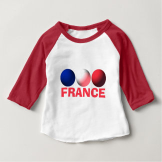 France Flag Blue, White and Red Spheres Baby T-Shirt