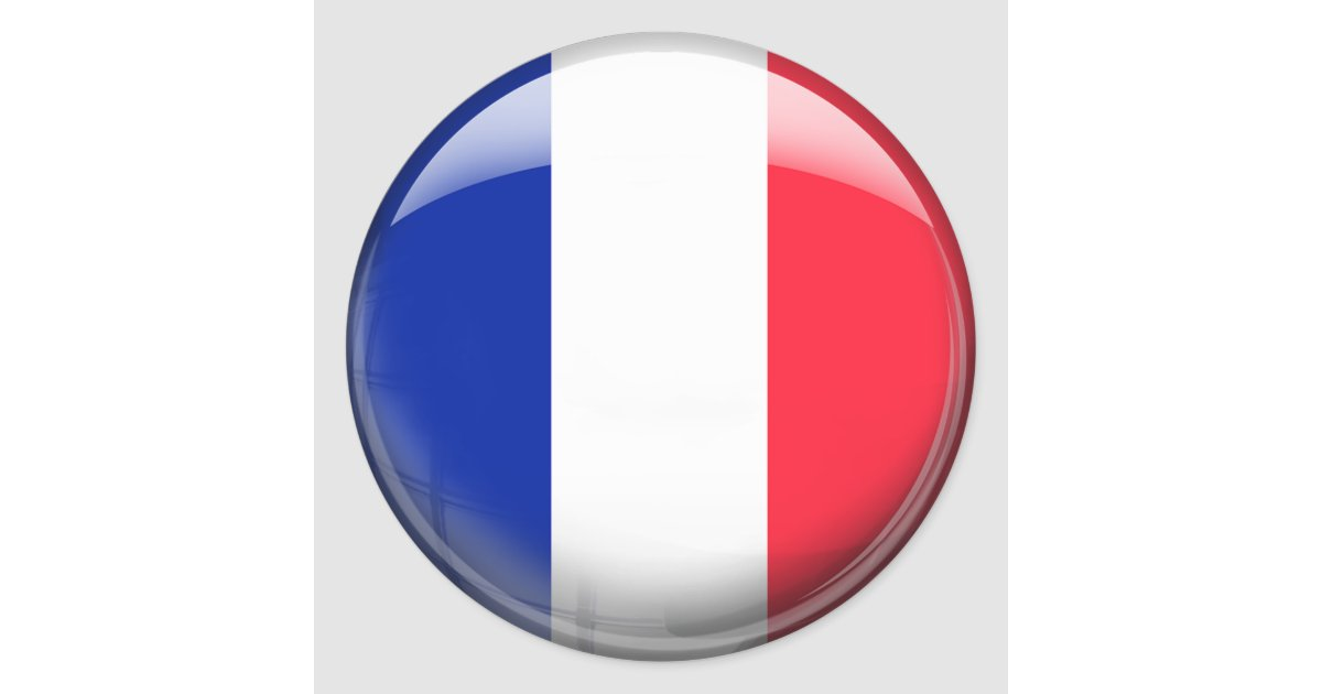 France Flag Classic Round Sticker Zazzle Com