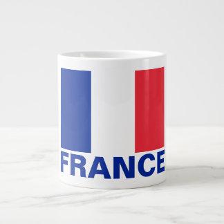 France Flag Customizable Blue Text Giant Coffee Mug