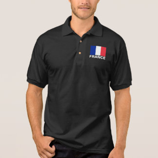 France Flag Customizable White Text Polo Shirt