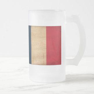 France Flag Frosted Glass Beer Mug