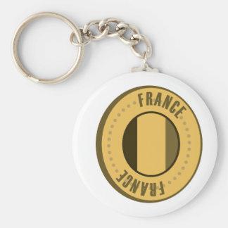 France Flag Gold Coin Keychain