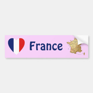 France Flag Heart + Map Bumper Sticker