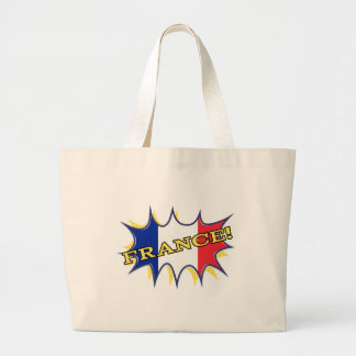 France Flag Kapow Comic Style Star Large Tote Bag