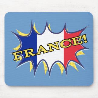 France Flag Kapow Comic Style Star Mouse Pad