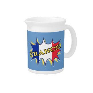 France Flag Kapow Comic Style Star Drink Pitchers
