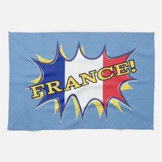France Flag Kapow Comic Style Star Towel