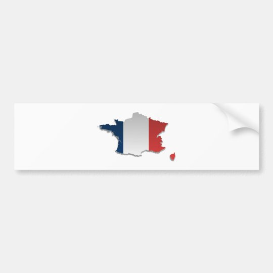 France Flag Map_2 Bumper Sticker
