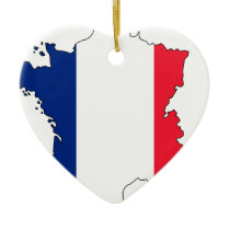 France Flag Map #2 Ceramic Ornament