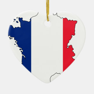 France Flag Map #2 Ceramic Ornament