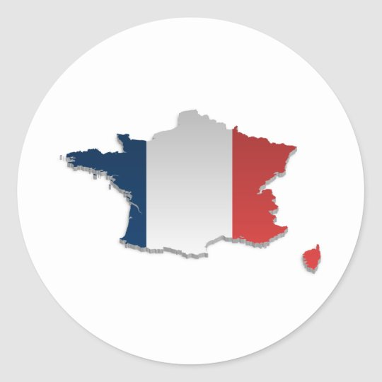 France Flag Map_2 Classic Round Sticker