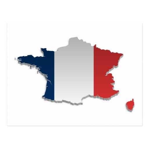 France Flag Map_2 Post Cards