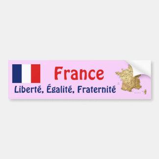 France Flag + Map Bumper Sticker Car Bumper Sticker