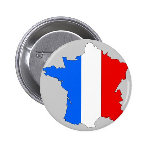 France flag map pinback button