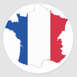 France Flag map FR Classic Round Sticker