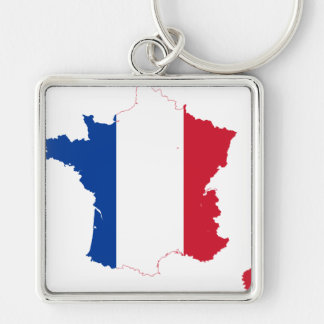 France Flag map FR Keychain