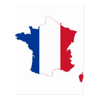 France Flag map FR Postcard