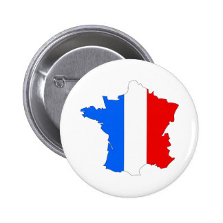 France Flag Map full size 2 Inch Round Button