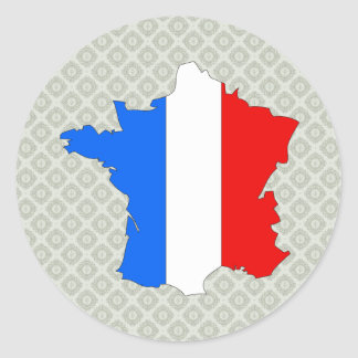 France Flag Map full size Classic Round Sticker