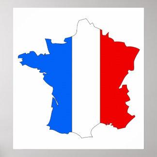 France Flag Map full size Poster