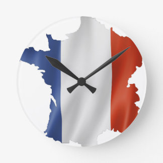 France Flag Map Round Clock