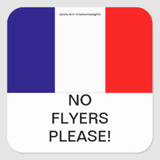 France Flag No Flyers Please Mail Box sticker