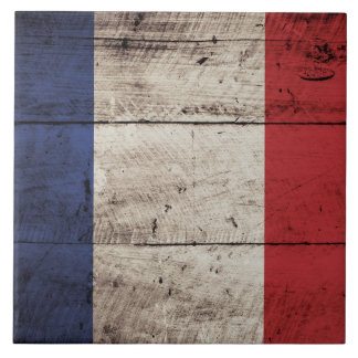 France Flag on Old Wood Grain Ceramic Tile