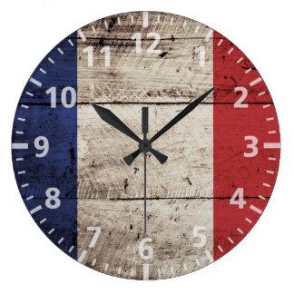 France Flag on Old Wood Grain Wall Clocks