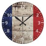 France Flag on Old Wood Grain Clocks