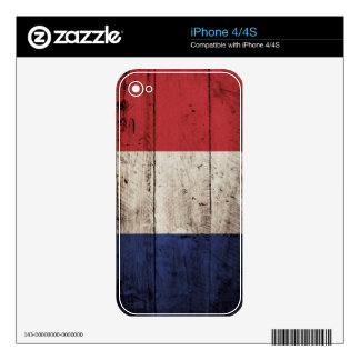 France Flag on Old Wood Grain iPhone 4S Decal