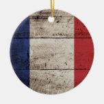 France Flag on Old Wood Grain Ornaments