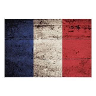 France Flag on Old Wood Grain Photograph