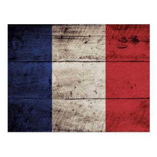 France Flag on Old Wood Grain Postcard