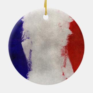 France Flag Paint Grunge Design Ceramic Ornament