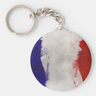 France Flag Paint Grunge Design Keychain